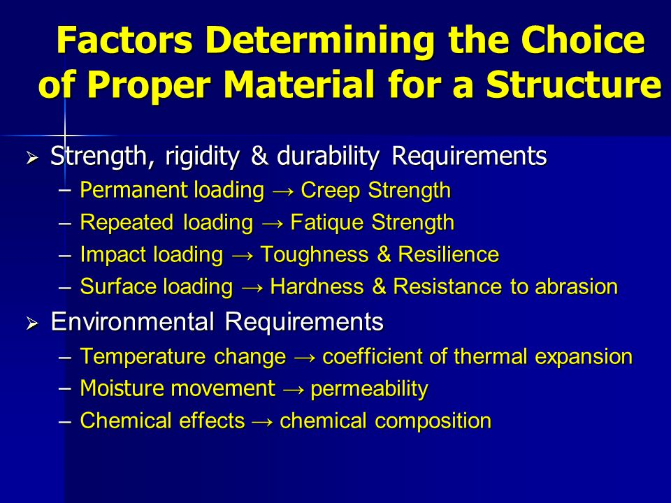 Factors Determining the Choice of Proper Material for a Structure