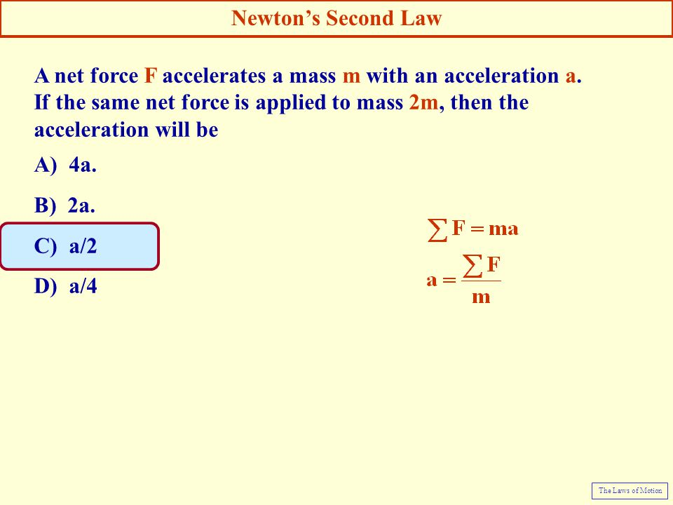 A net force F accelerates a mass m with an acceleration a.