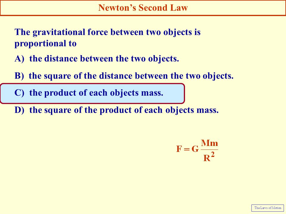The gravitational force between two objects is proportional to