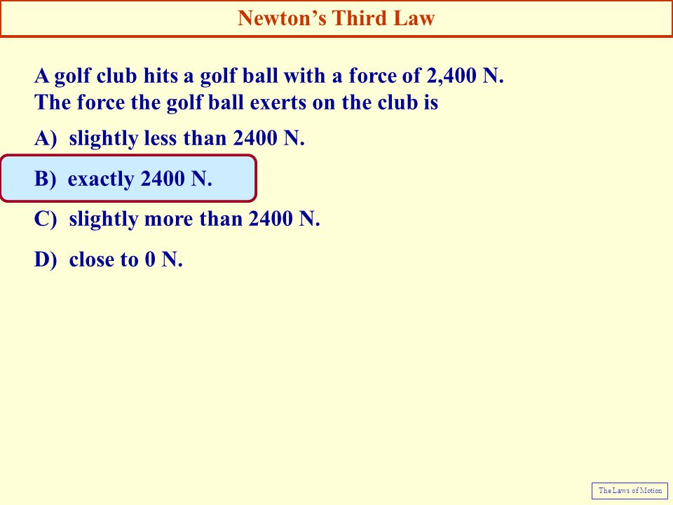 A golf club hits a golf ball with a force of 2,400 N.