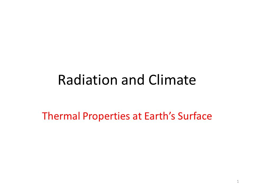 Thermal Properties at Earth's Surface