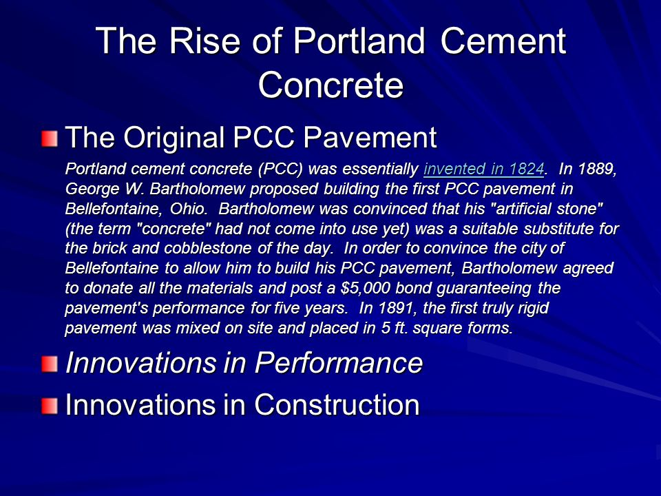 The Rise of Portland Cement Concrete
