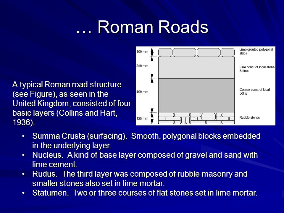 … Roman Roads A typical Roman road structure (see Figure), as seen in the United Kingdom, consisted of four basic layers (Collins and Hart, 1936):