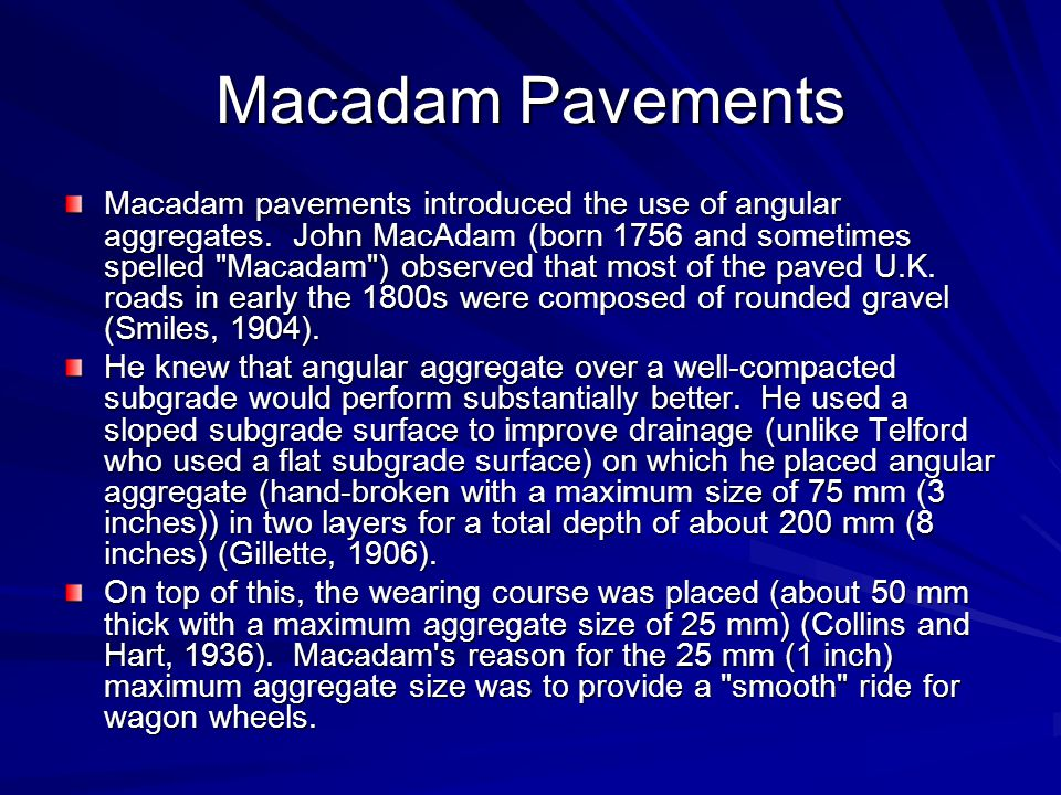 Macadam Pavements