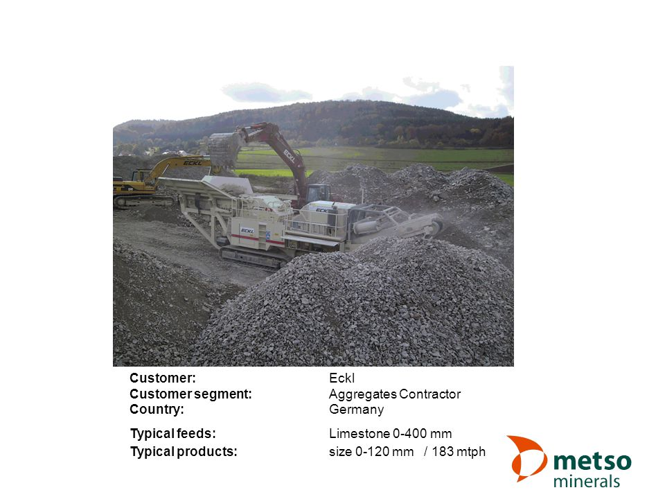 Customer: Eckl Customer segment: Aggregates Contractor. Country: Germany. Typical feeds: Limestone 0-400 mm.