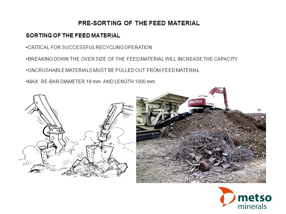 PRE-SORTING OF THE FEED MATERIAL