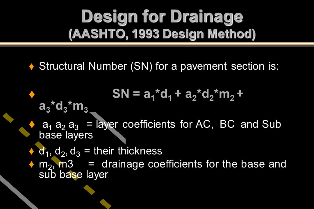 Design for Drainage (AASHTO, 1993 Design Method)
