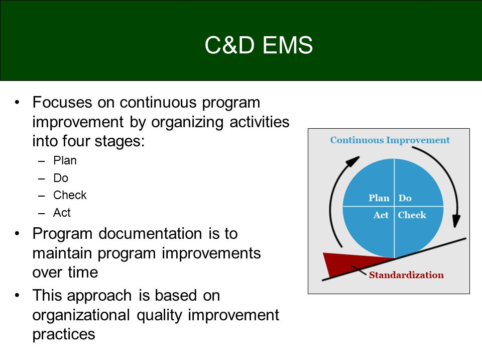 C&D EMS Focuses on continuous program improvement by organizing activities into four stages: Plan.