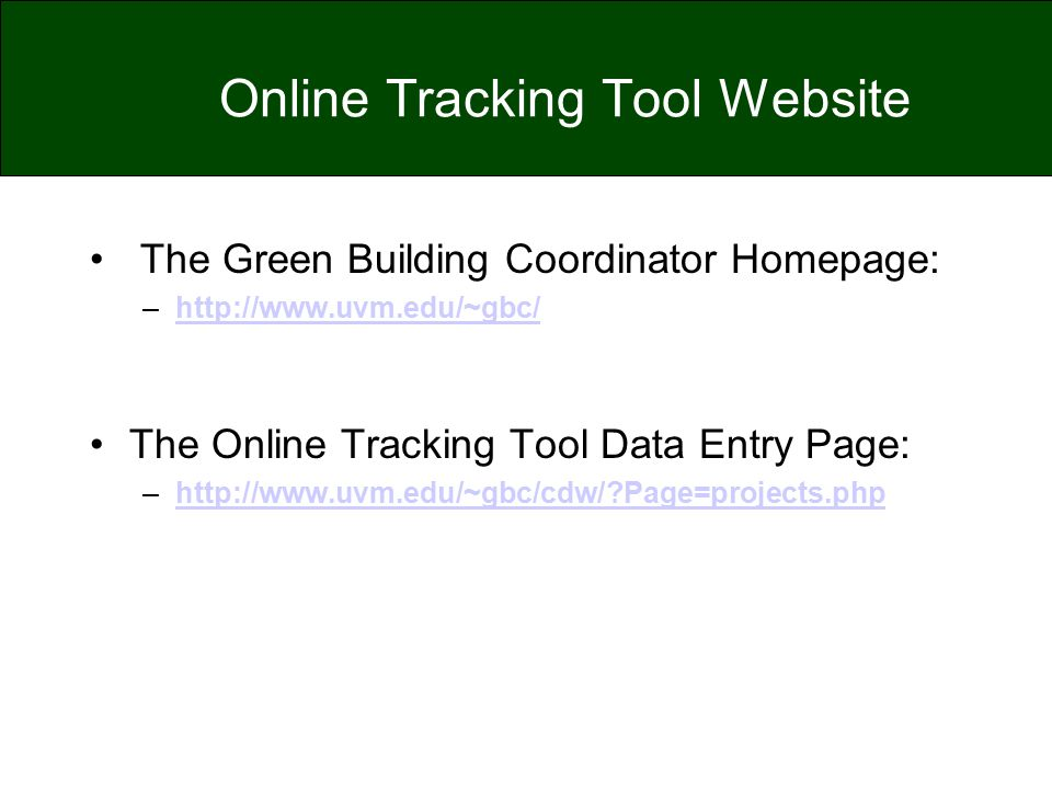 Online Tracking Tool Website