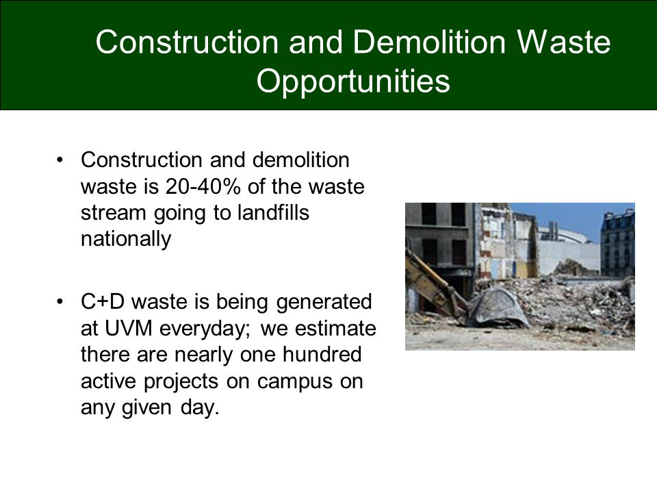 Construction and Demolition Waste Opportunities