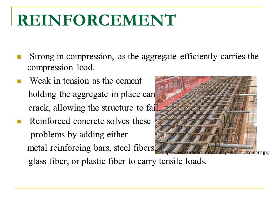 REINFORCEMENT Strong in compression, as the aggregate efficiently carries the compression load. Weak in tension as the cement.