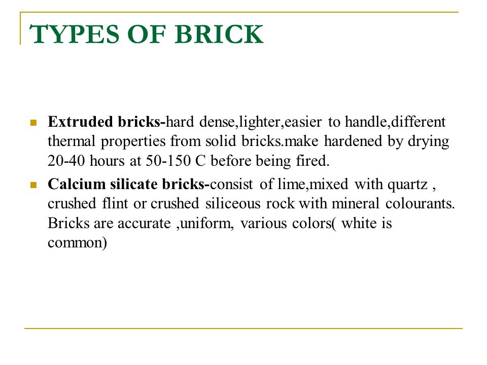 TYPES OF BRICK