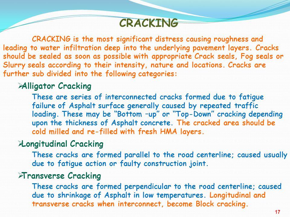 CRACKING Alligator Cracking Longitudinal Cracking Transverse Cracking