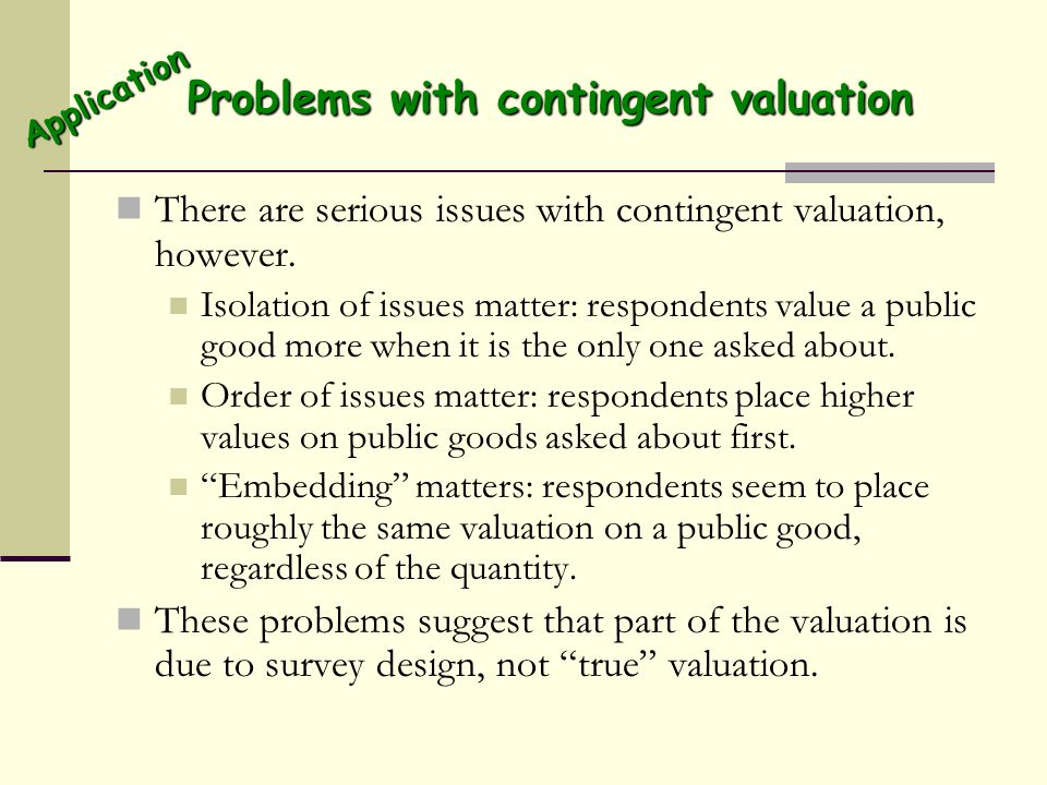 Problems with contingent valuation