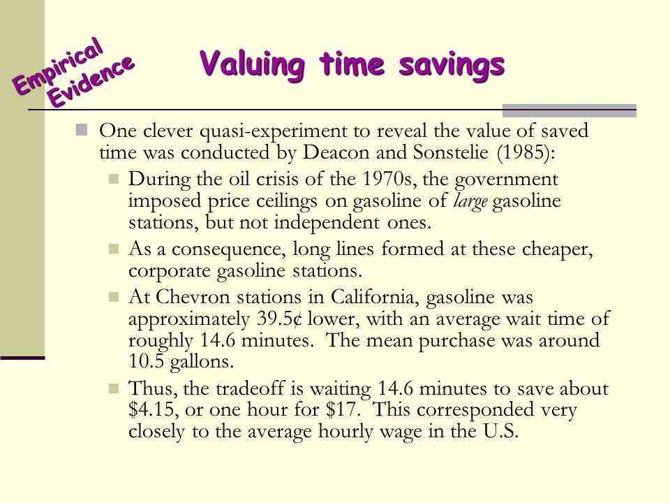 Valuing time savings Empirical Evidence