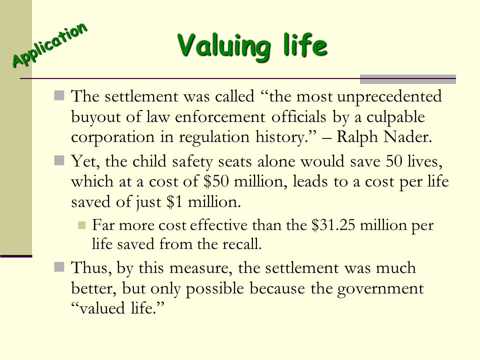 Valuing life Application.