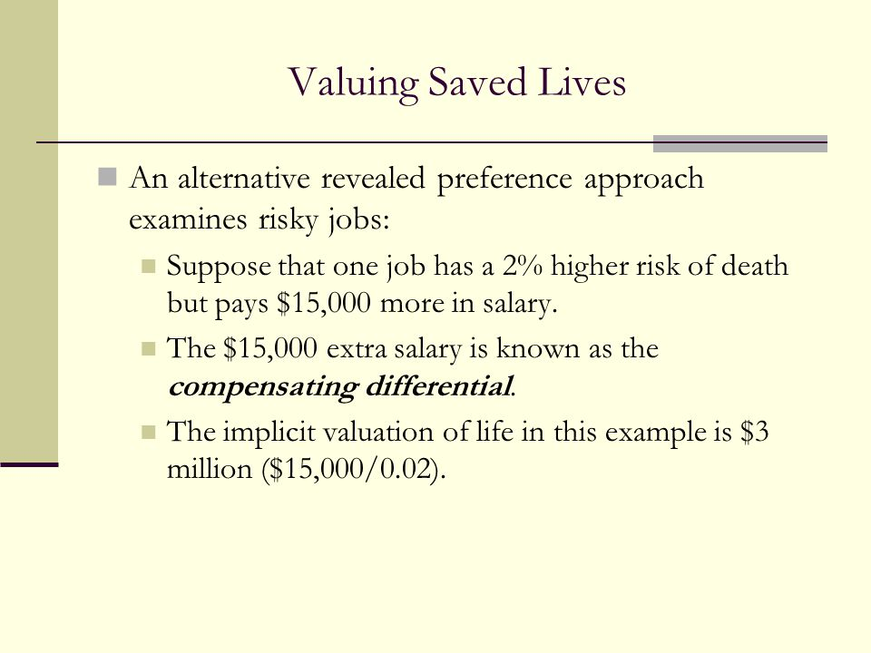 Valuing Saved Lives An alternative revealed preference approach examines risky jobs: