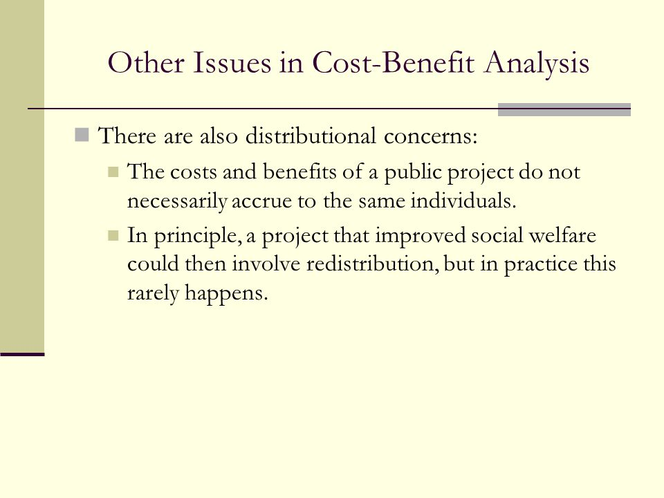 Other Issues in Cost-Benefit Analysis