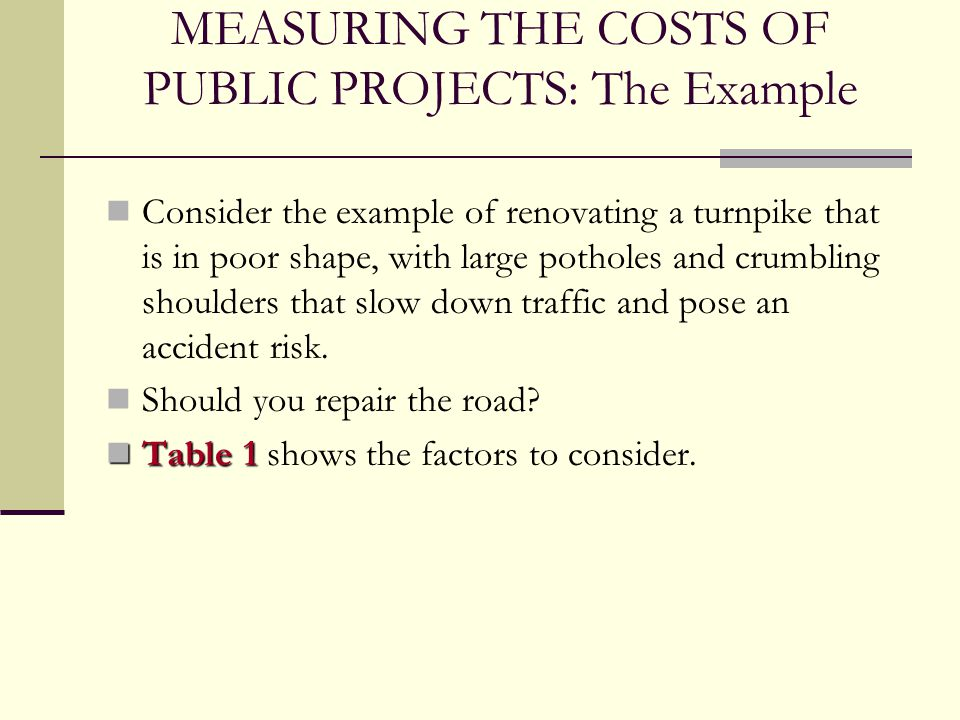 MEASURING THE COSTS OF PUBLIC PROJECTS: The Example