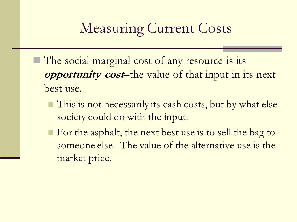 Measuring Current Costs