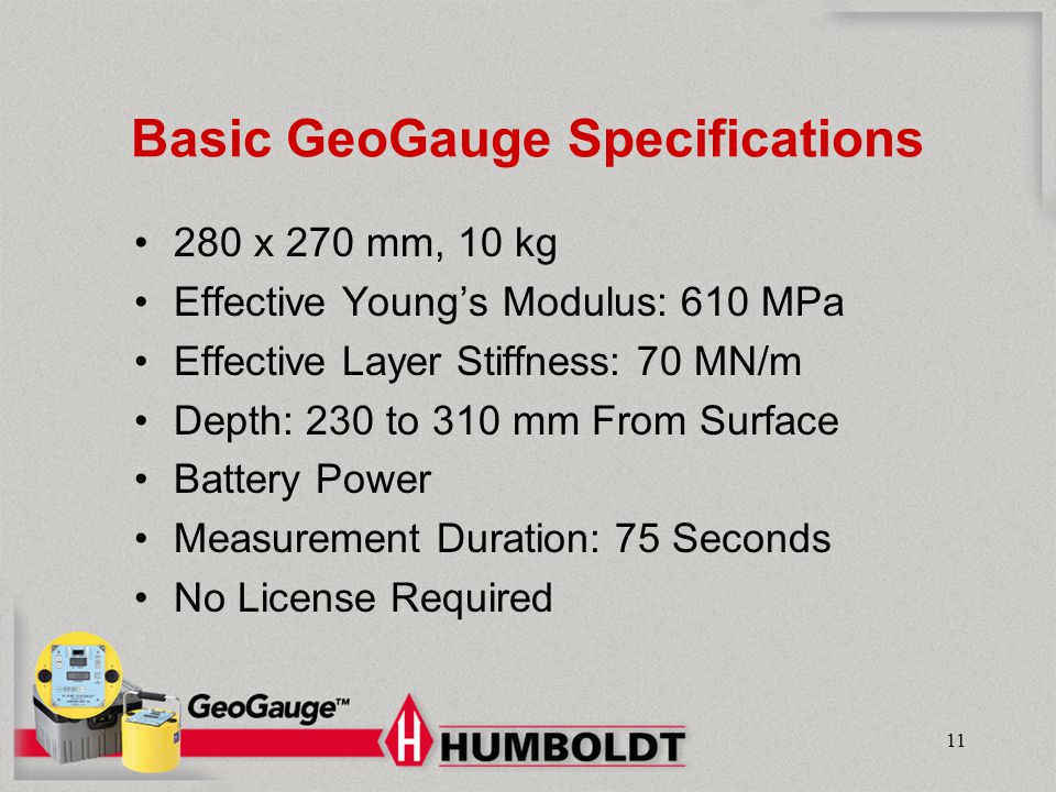 Basic GeoGauge Specifications
