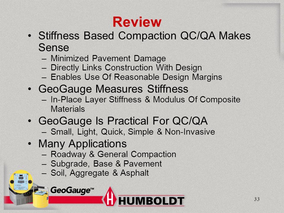 Review Stiffness Based Compaction QC/QA Makes Sense