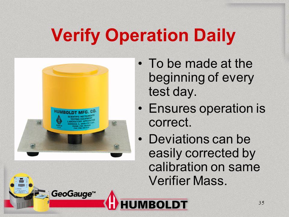 Verify Operation Daily