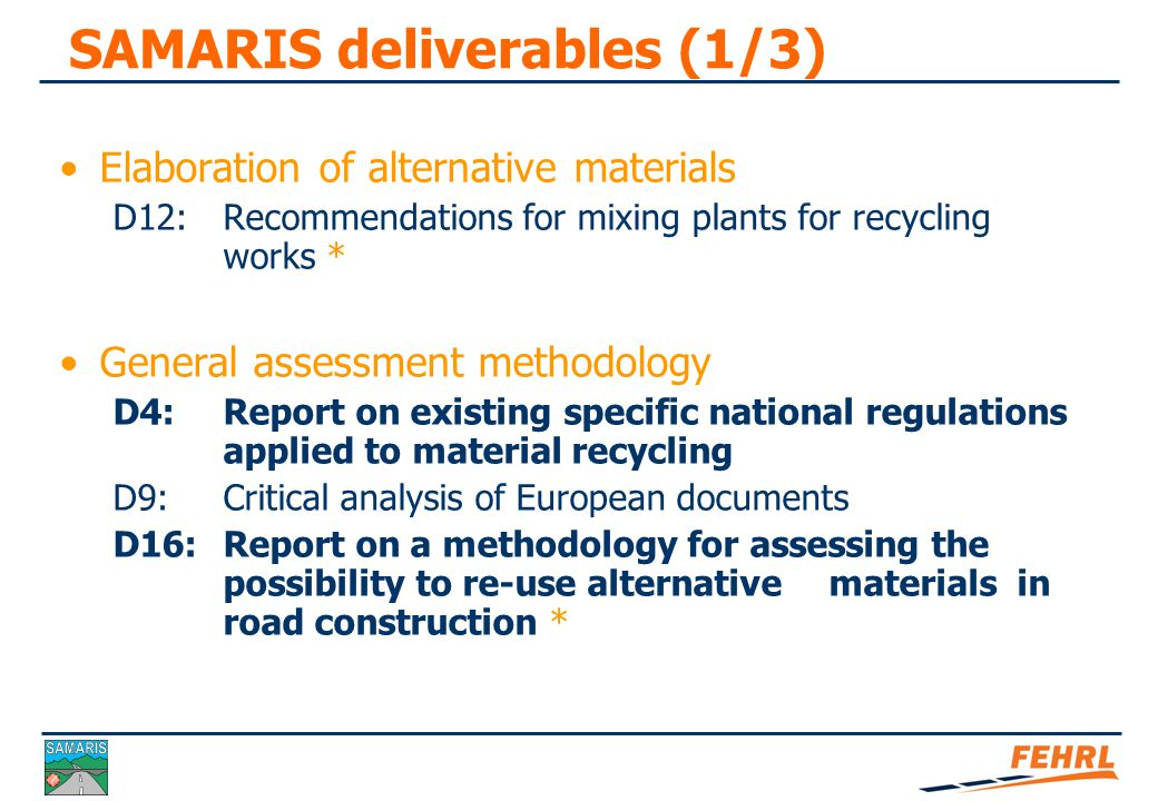 SAMARIS deliverables (2/3)