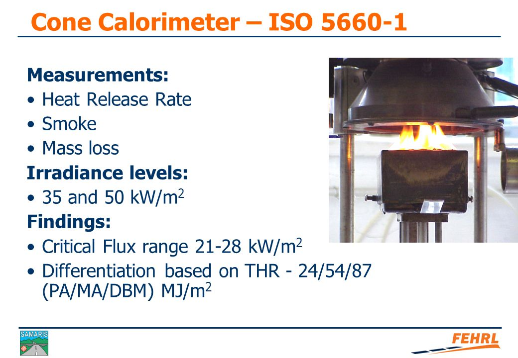 Summary of Findings (1) The cone calorimeter test can discriminate between pavement materials.
