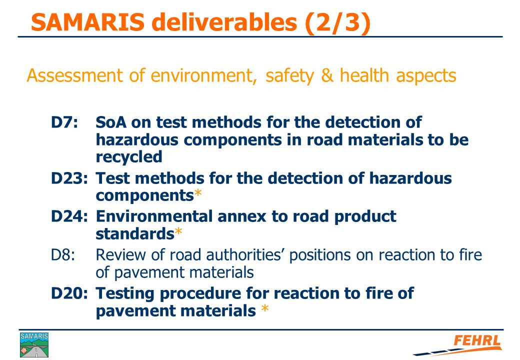 SAMARIS deliverables (3/3)