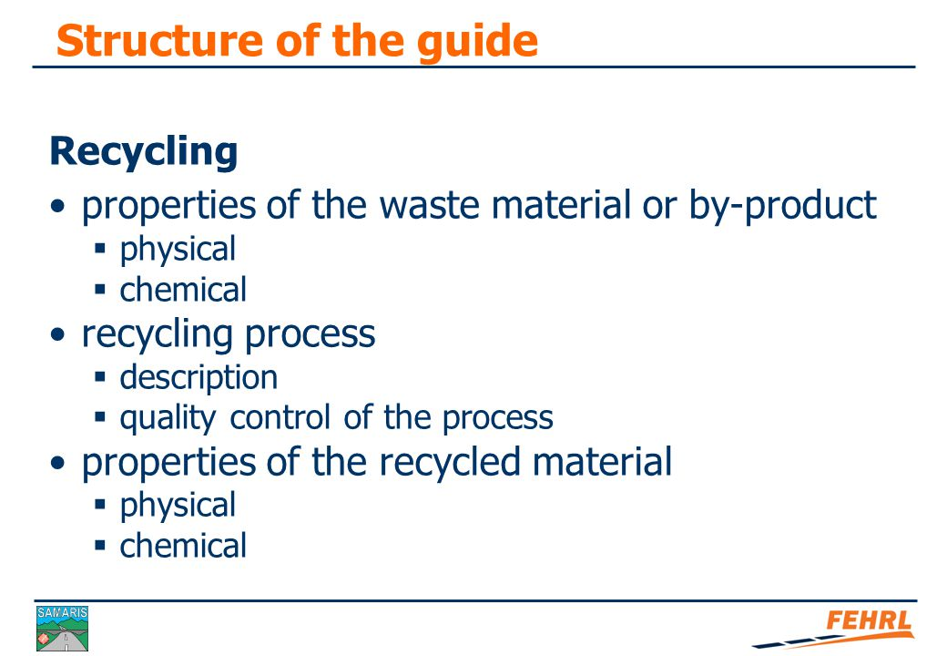 Structure of the guide Uses in road construction Uses