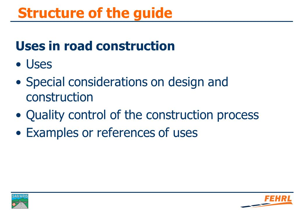Summary of used by-products in road construction