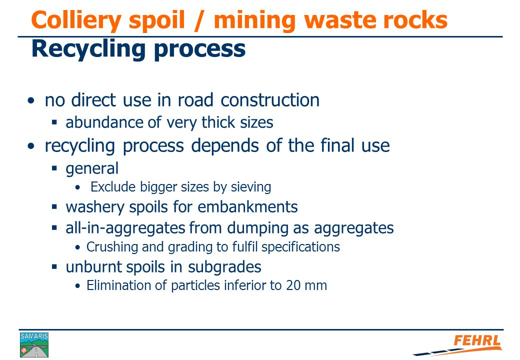 Colliery spoil / mining waste rocks Recycling. Recycled material