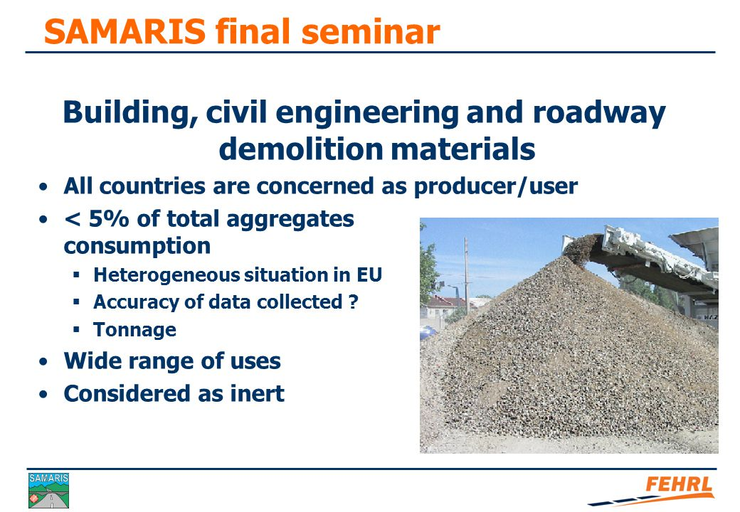 SAMARIS final seminar Mobile recycling installation Hopper and crusher