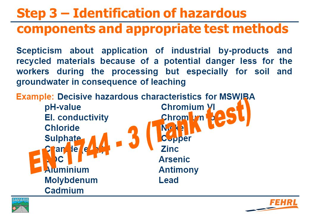 Step 3 – Identification of hazardous components and appropriate test methods