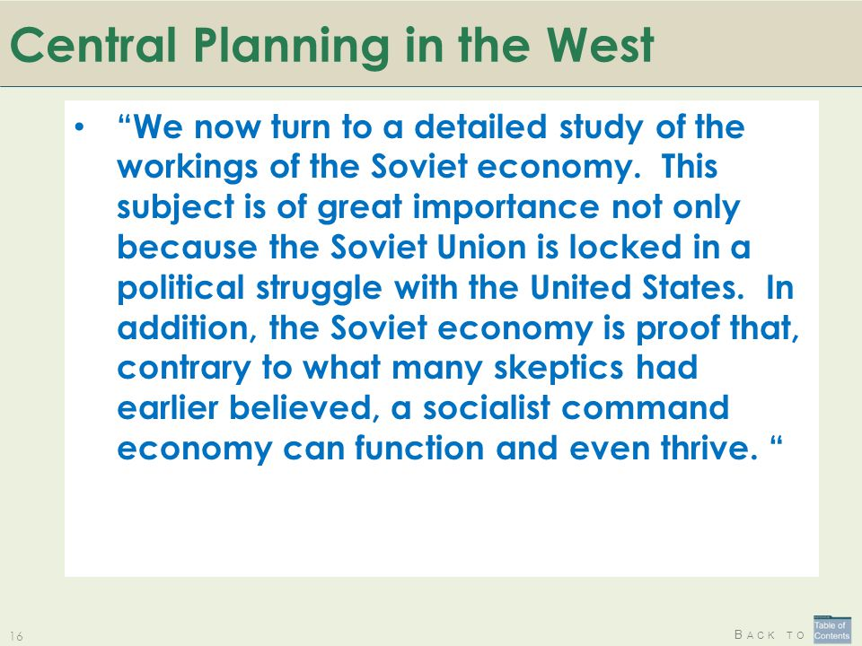 Central Planning in the West