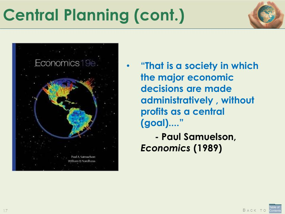 Central Planning (cont.)