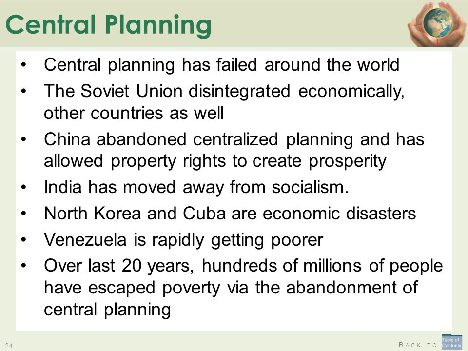 Central Planning Central planning has failed around the world