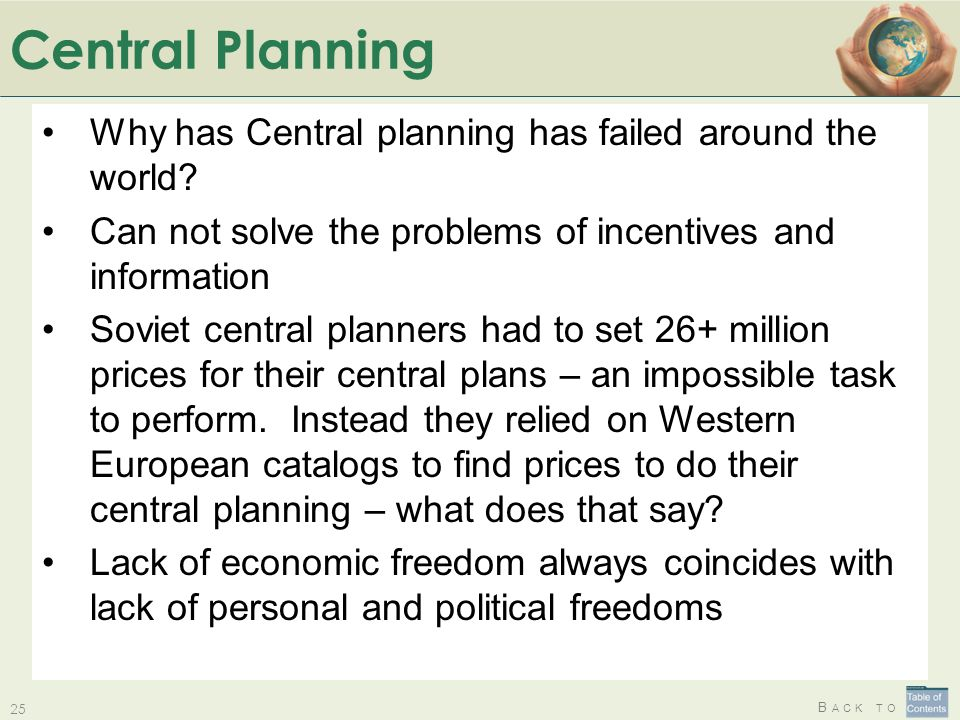 Central Planning Why has Central planning has failed around the world