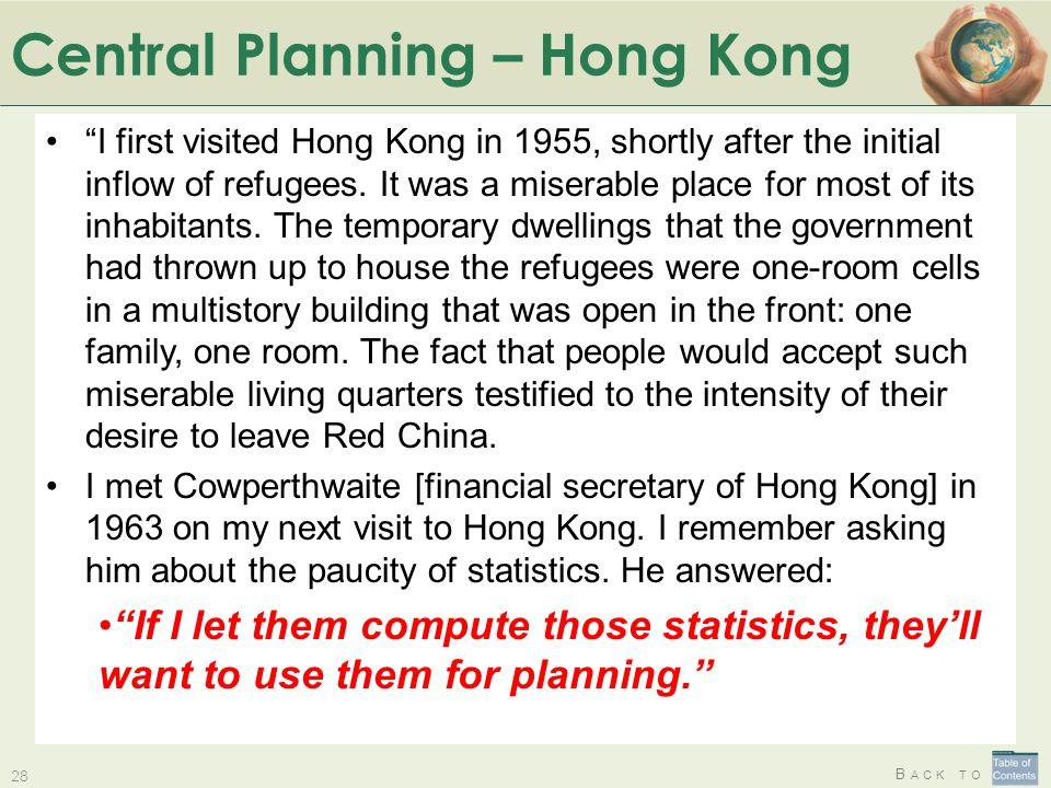 Central Planning – Hong Kong
