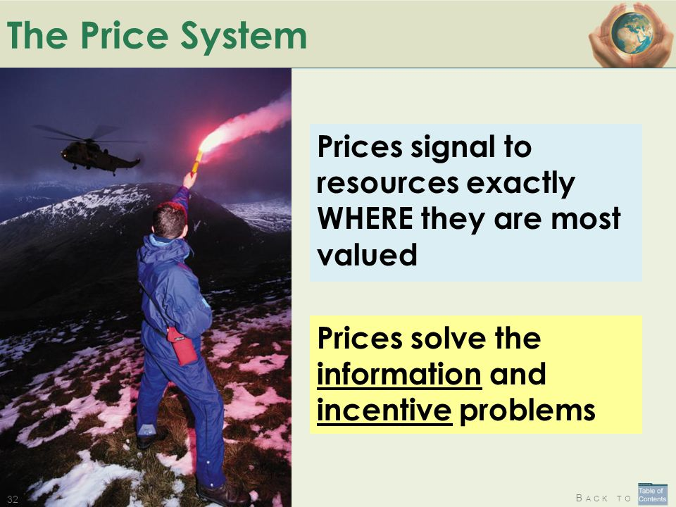 The Price System Prices signal to resources exactly WHERE they are most valued.