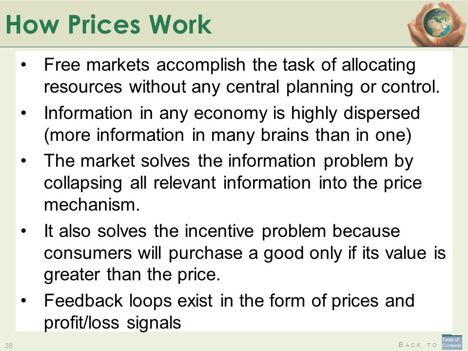 How Prices Work Free markets accomplish the task of allocating resources without any central planning or control.