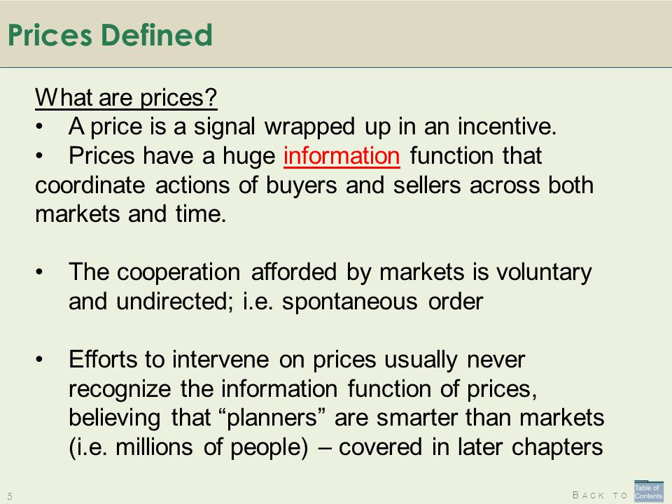 Prices Defined What are prices