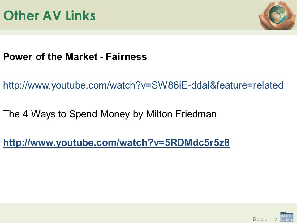 Other AV Links Power of the Market - Fairness