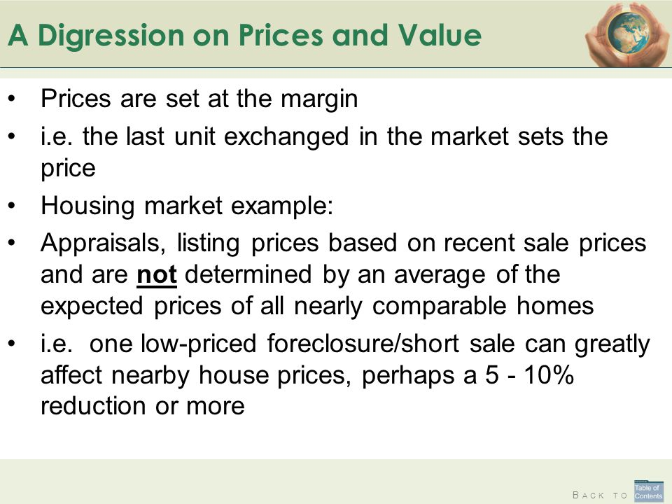 A Digression on Prices and Value