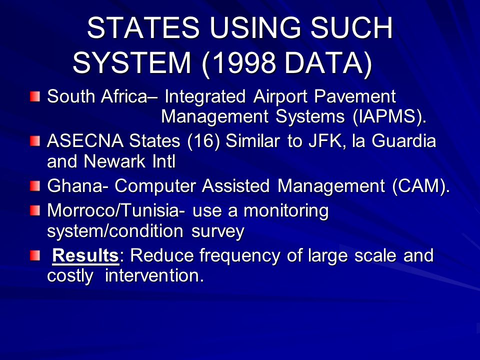 STATES USING SUCH SYSTEM (1998 DATA)