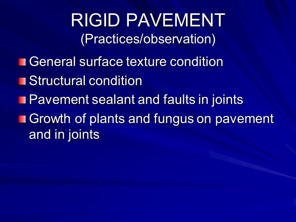 RIGID PAVEMENT (Practices/observation)