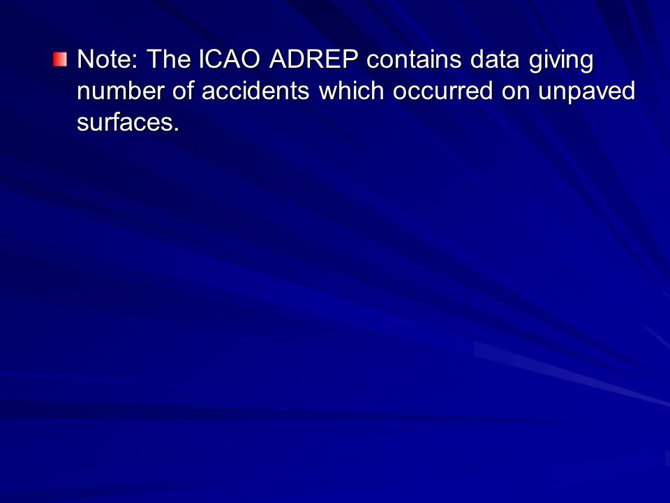 Note: The ICAO ADREP contains data giving number of accidents which occurred on unpaved surfaces.