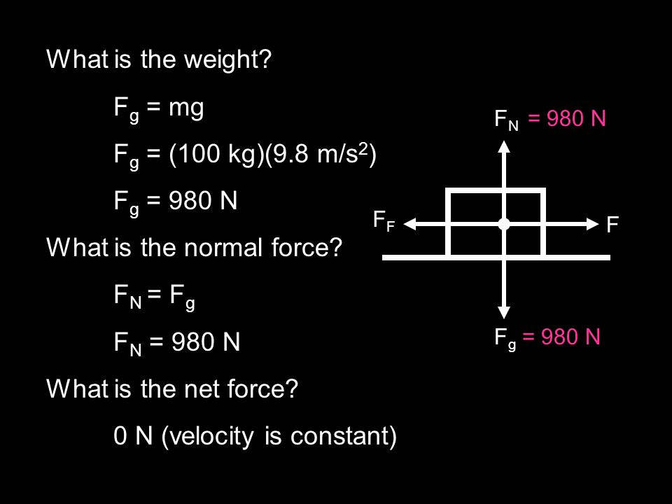 What is the normal force FN = Fg FN = 980 N What is the net force