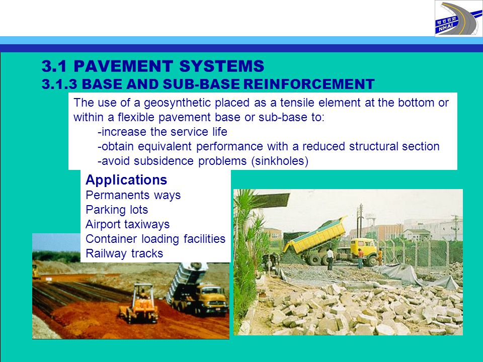3.1 PAVEMENT SYSTEMS 3.1.3 BASE AND SUB-BASE REINFORCEMENT